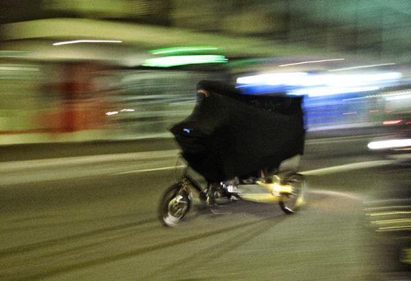 Cigdem Aydemir,  Burqa Clad Rickshaw, speeding along King Street Newtown