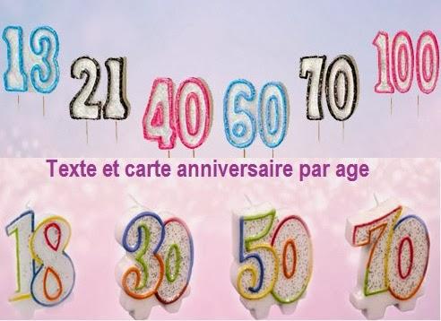 Texte Et Carte Anniversaire Par Age Texte Anniversaire Sms