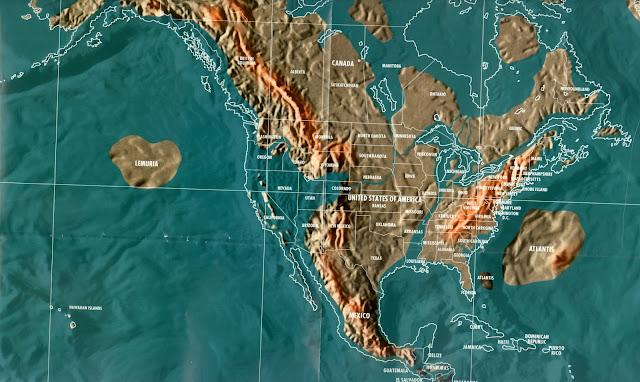 Mapa da Terra após o apocalipse em 2036 com a Atlantida