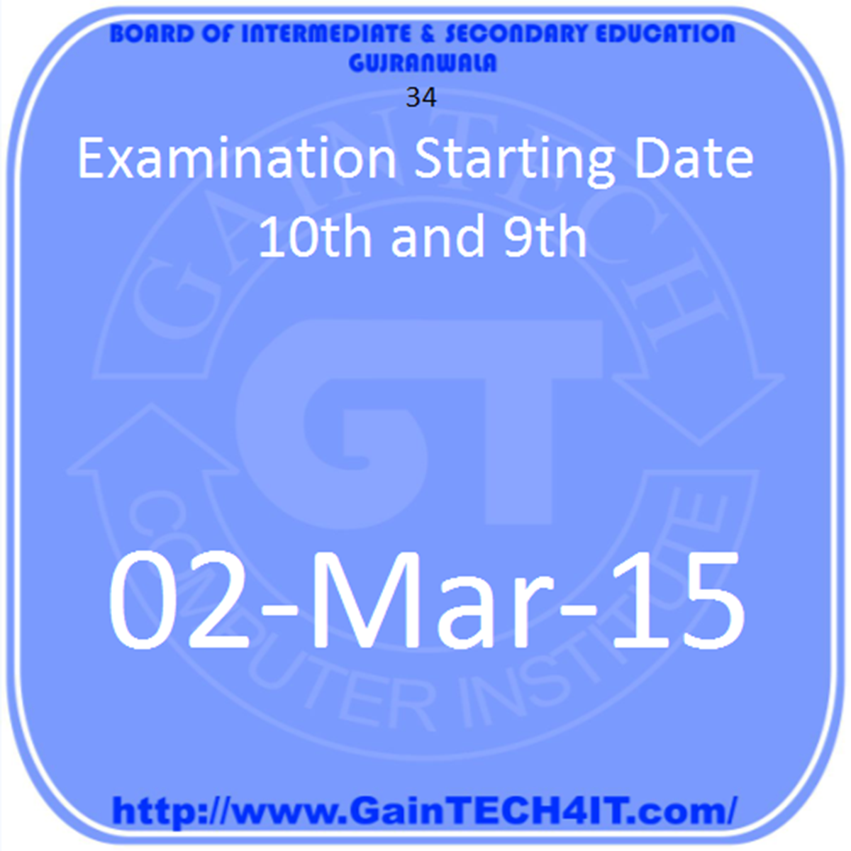 Examination Starting Date 10th and 9th - Gujranwala Board