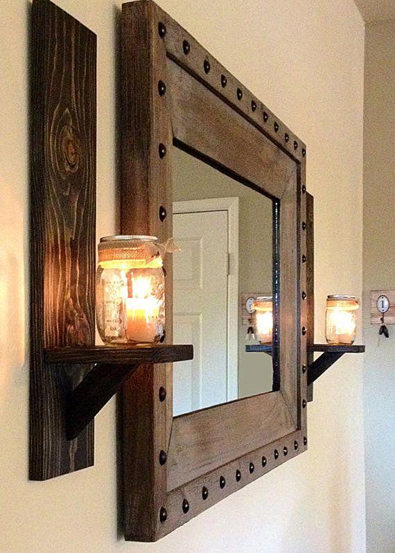 Espelho com luz reutilize materiais