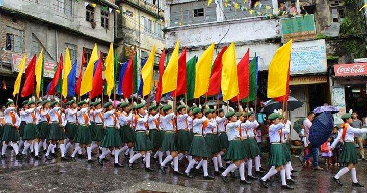 Independence Day celebration in kalimpong mela ground Girls high school marching on