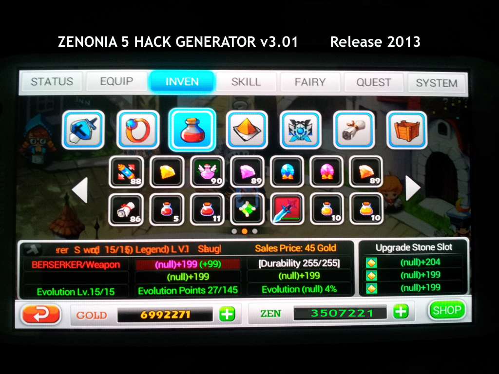 Zenonia 5 Gold & Zen Hack Working on Ipad/Iphone/Android