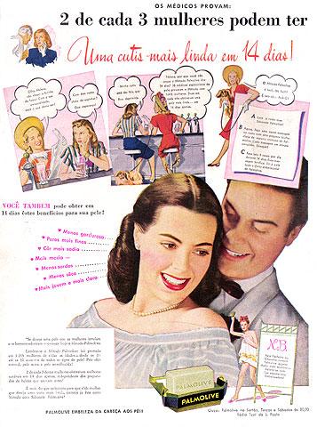 Propaganda antiga do Sabonete Palmolive para as mulheres nos anos 40.