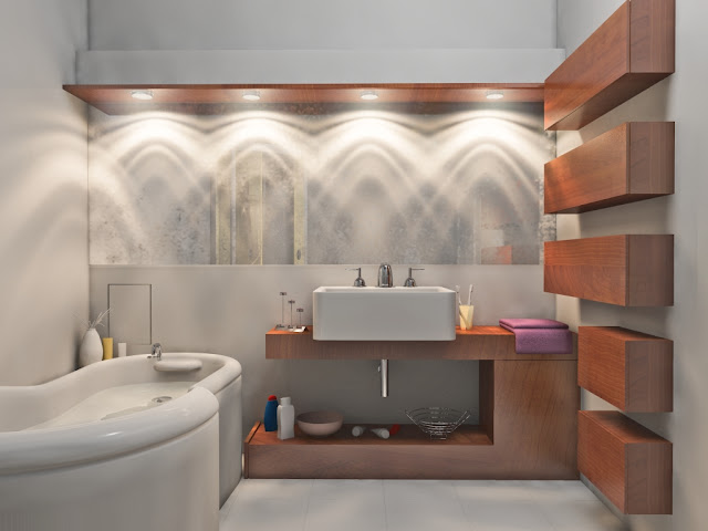 the-beautiful-modern-bathroom-light-fixtures-with-unique-lacquered-marble-bathtub