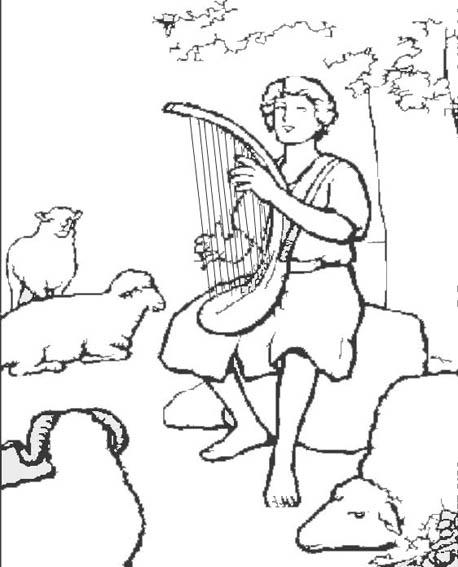 David Tocando el arpa para colorear ~ Dibujos Cristianos Para Colorear