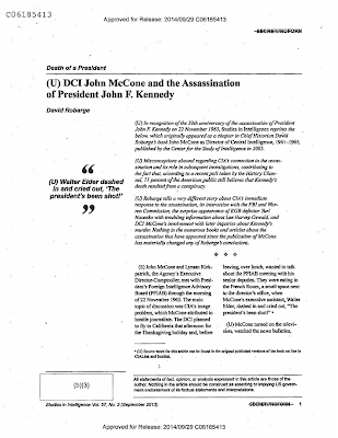 DCI John McCOne and the Assassination of President John F. Kennedy (Pg 1)