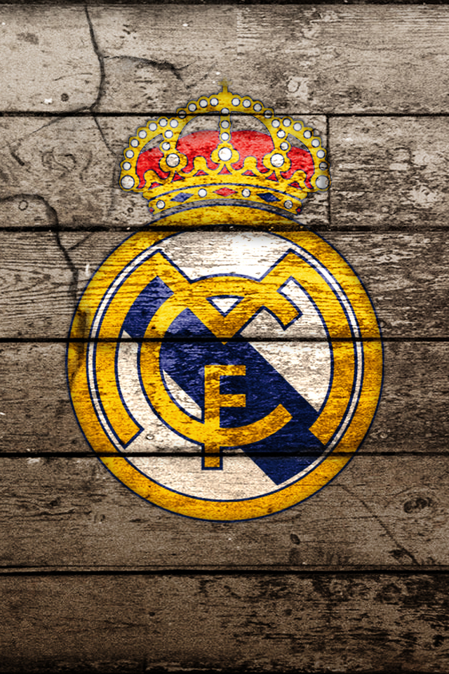 Real Madrid Logo ON Wood IPhone Wallpaper HD