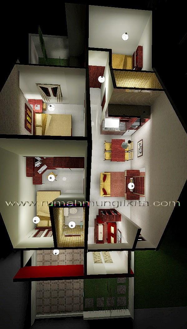Penataan Rumah Hasil Renovasi Tipe 48 Tanah 93 m2 (1 lantai, 3 kamar tidur, 2 kamar mandi) (Ruang Tidur)