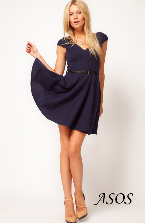 ASOS V-neck Flare Dress with Cap Sleeves