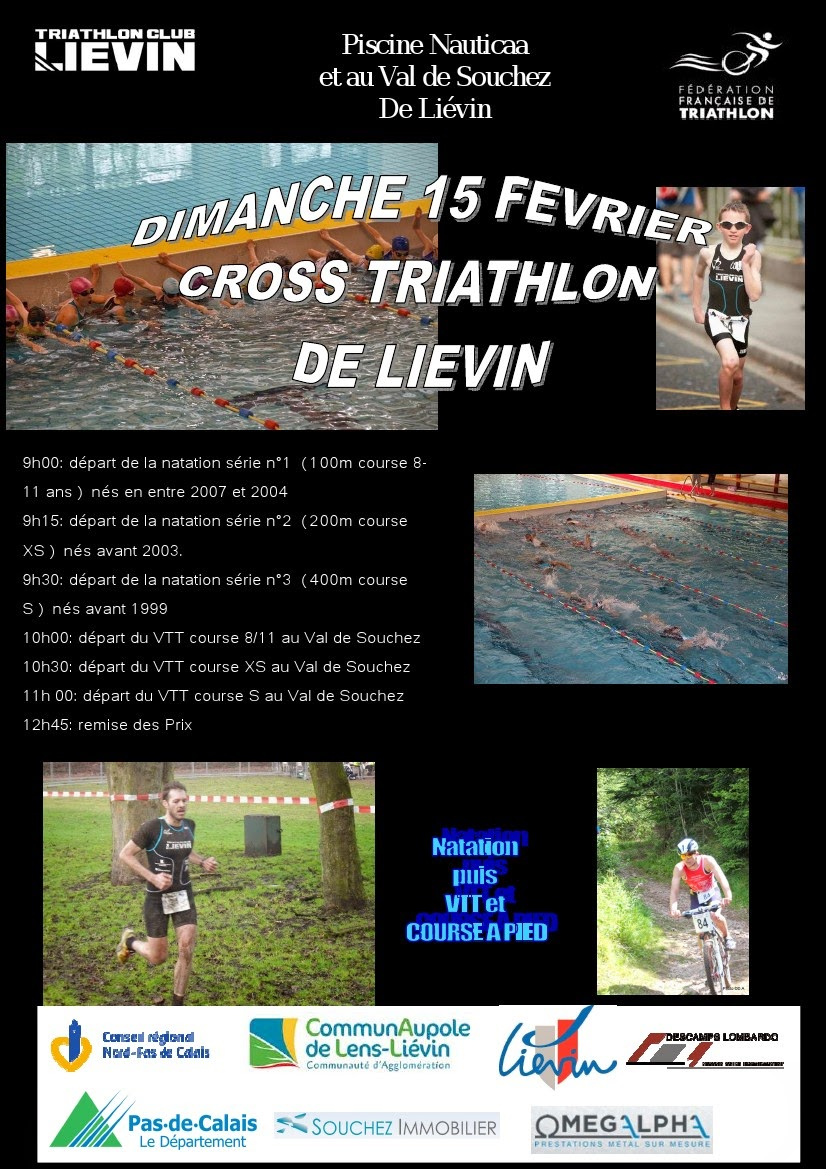 Programme du Cross Triathlon de Liévin (15/02/2015)