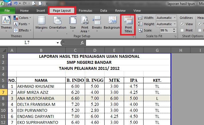 Nurhamim S Blog Tips Ms Excel 2010 Cara Membuat Header Tabel Yang Selalu Muncul Pada Saat Diprint
