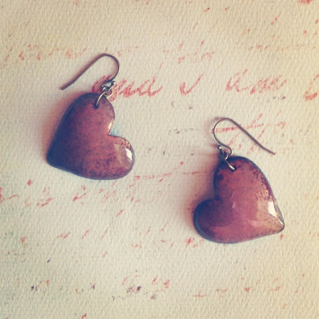 Enameled pink heart earrings