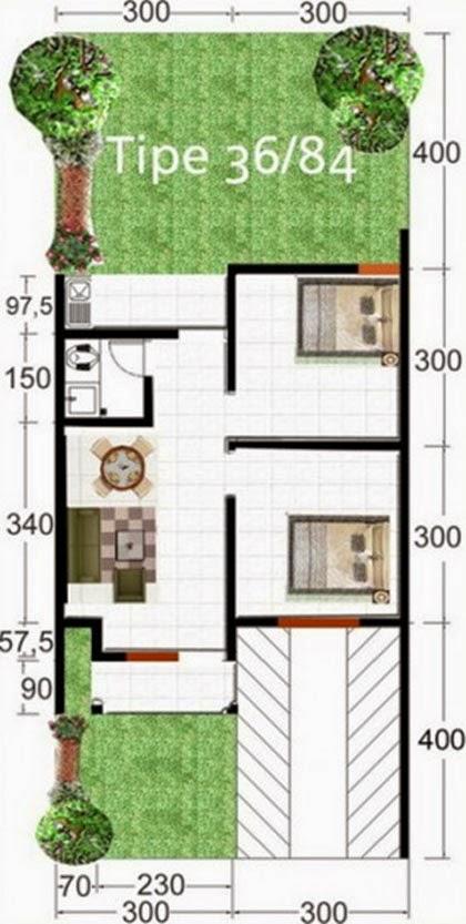 contoh denah rumah type 36 desain rumah sederhana