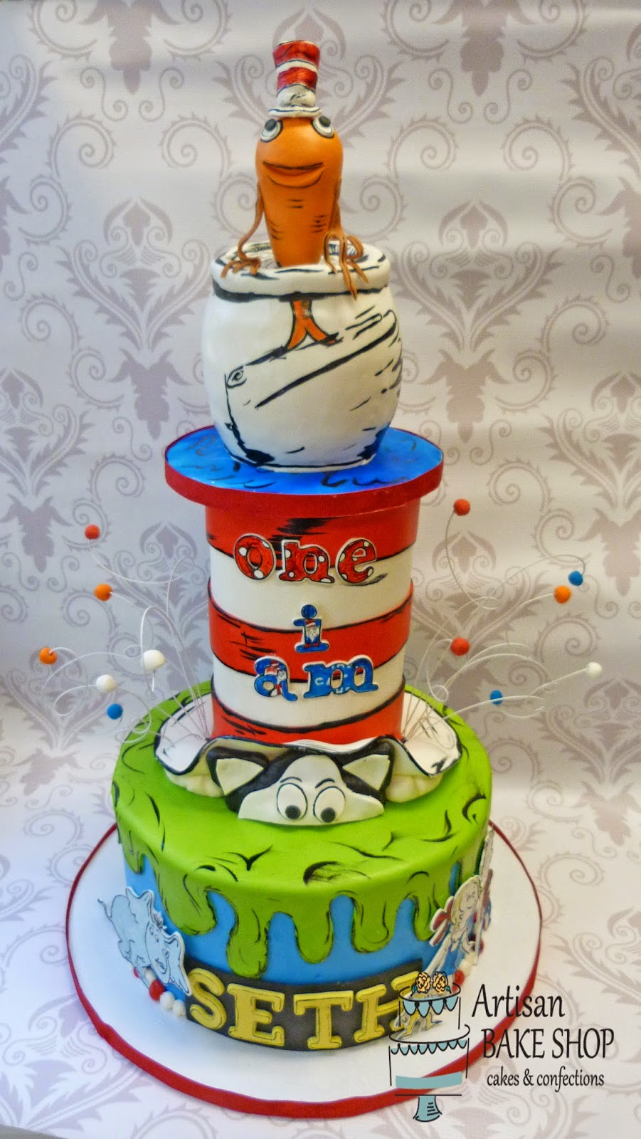 Artisan Bake Shop First Birthday Cakes Dr Seuss And Cat In The Hat
