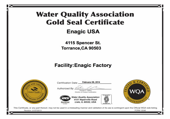 Issued by the Water Quality Association for 2011
