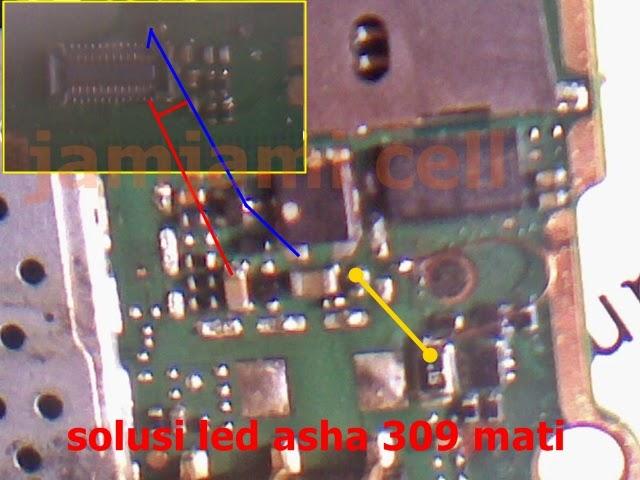 tips dan trick solusi jumper led lcd nokia asha 309, jamjami cell