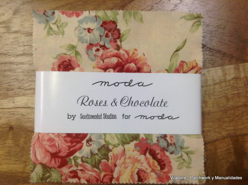 "Charm Pack de Moda Fabrics ""Roses & Chocolate"" - Patchwork Vilabors"