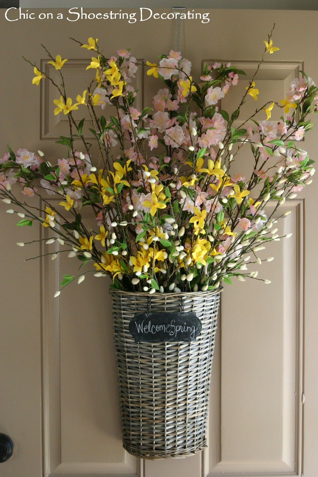 Chic on a shoestring decorating spring front door decor Spring flower arrangements for front door
