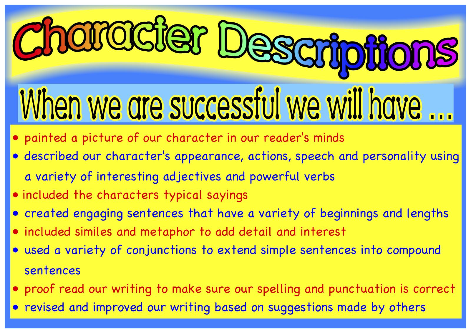 describe personal characteristics essay