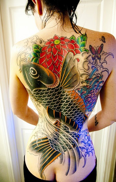 Full Backside Tattoos Design Idea for Woman