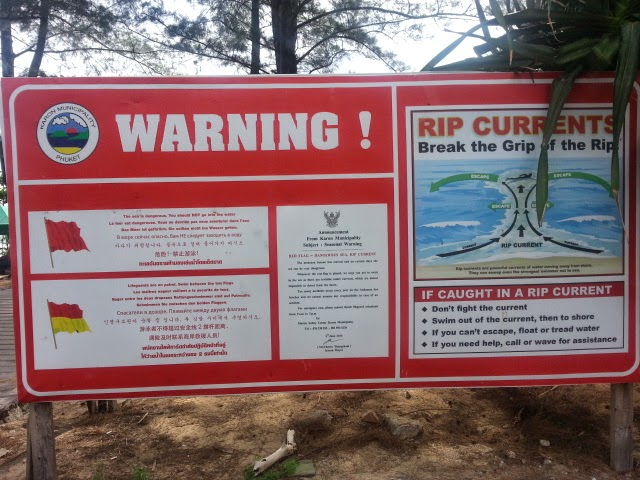 Phuket rip currents warning sign