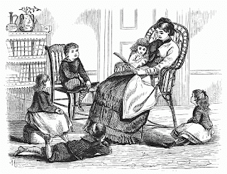 rawing of a victorian woman in a rocking chair reading to four children