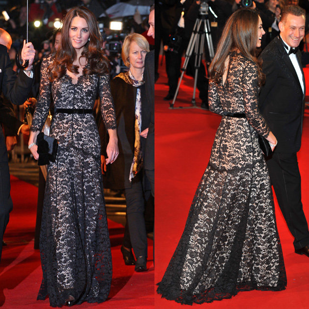 All About Kate: Kate Wears Black Lace Temperley Gown at ...