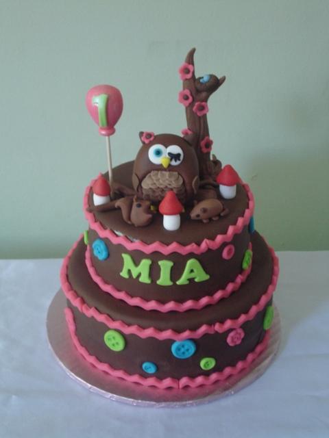 Kimas Konfections Owl Themed 1st Birthday Cake