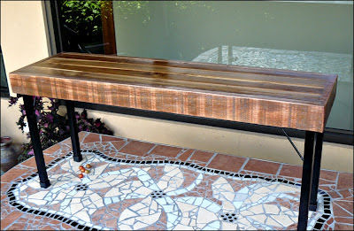 wooden bench on table