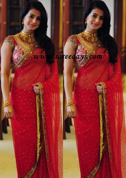 Latest saree designs amisha patel in red bridal designer work saree amisha patel in red bridal designer work saree altavistaventures Images