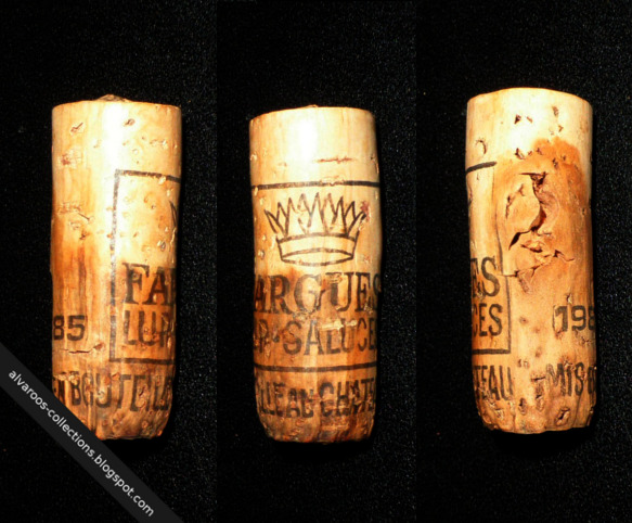 Destroyed wine cork: Chateau de Fargues Lup-Saluces 1985