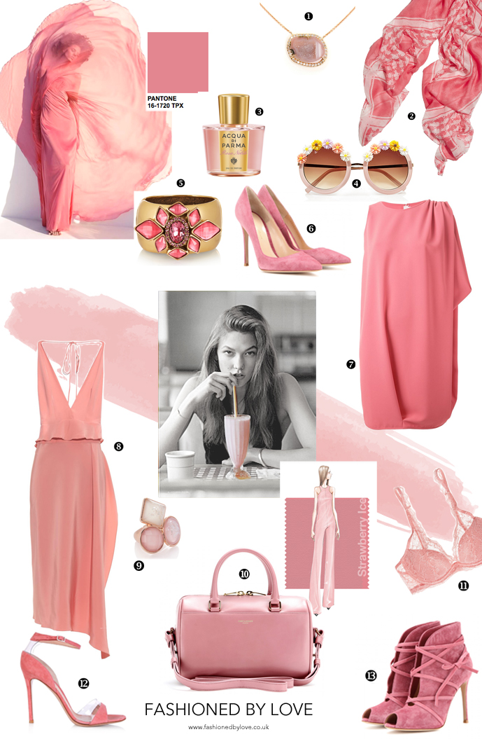 Pantone Spring 2015 colour trend report, strawberry ice and strawberries and cream - inspiration from the runway and best fashion and style buys from dresses to shoes in strawberry pink hue / via fashion by love british fashion blog