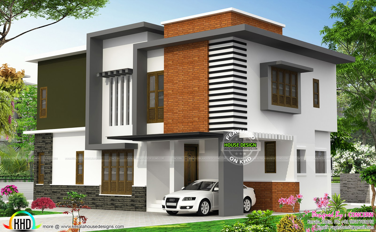 Contemporary house with brick show wall kerala home for Kerala modern house designs