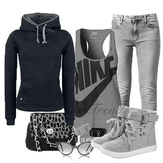 Loose Leisure Wool Hoodie Black, Round Toe Lace Up Metal Decorated Buckle Shoes, Jeans, Blouse