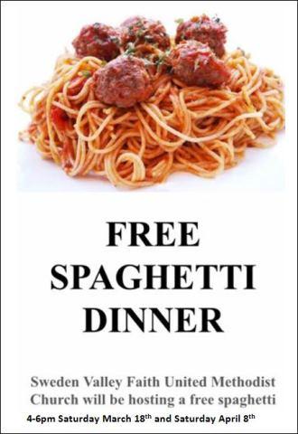 4-8 Free Spaghetti Dinner