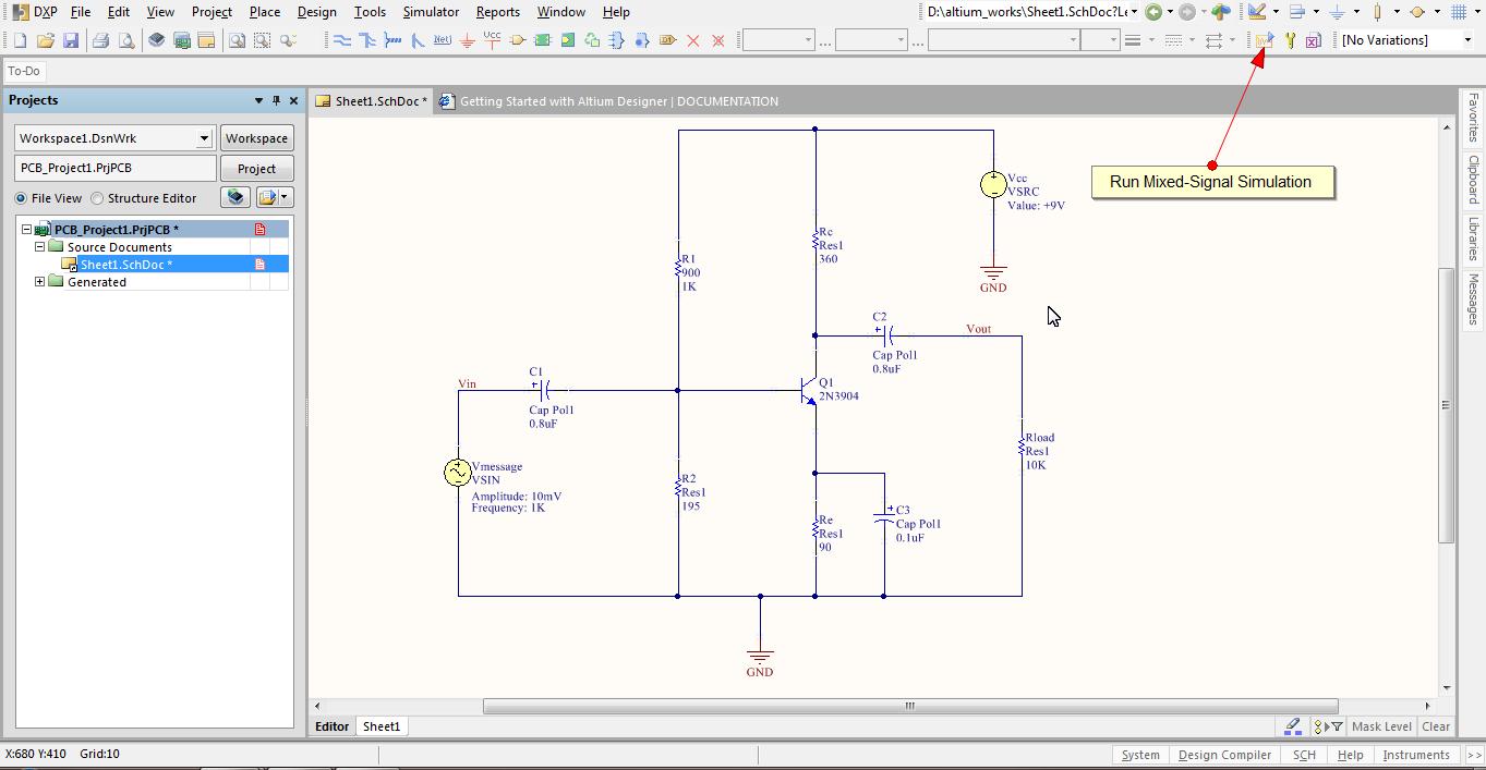 Running Simulation in Altium Designer