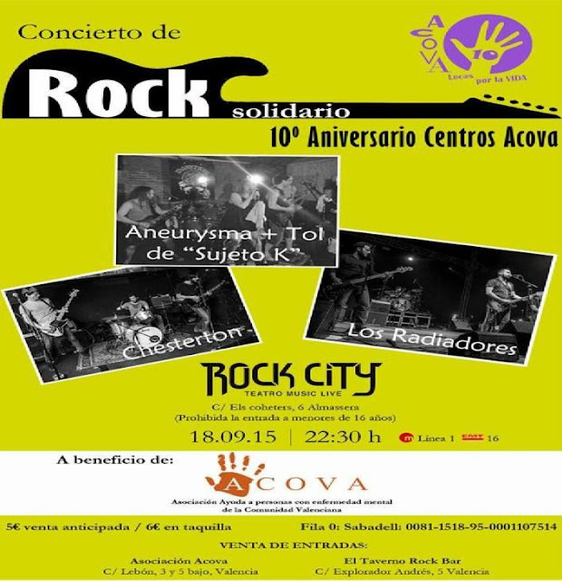 Concierto de rock solidario - 10º aniversario Centros ACOVA
