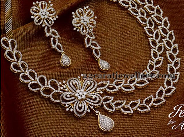 Floral Hangings 2 Layers Diamond Set