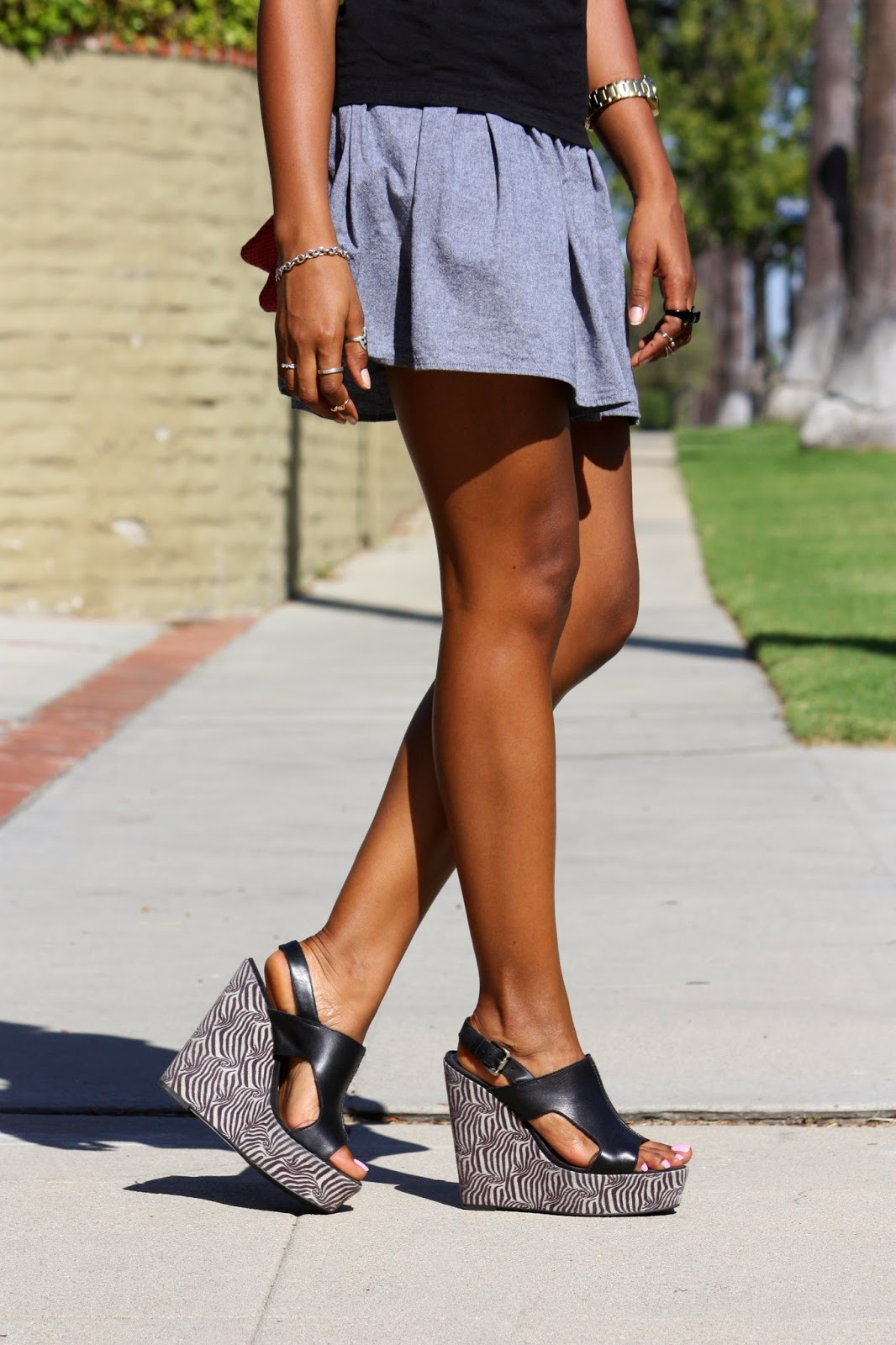 Wearing American Apparel full skirt with Carlos wedges