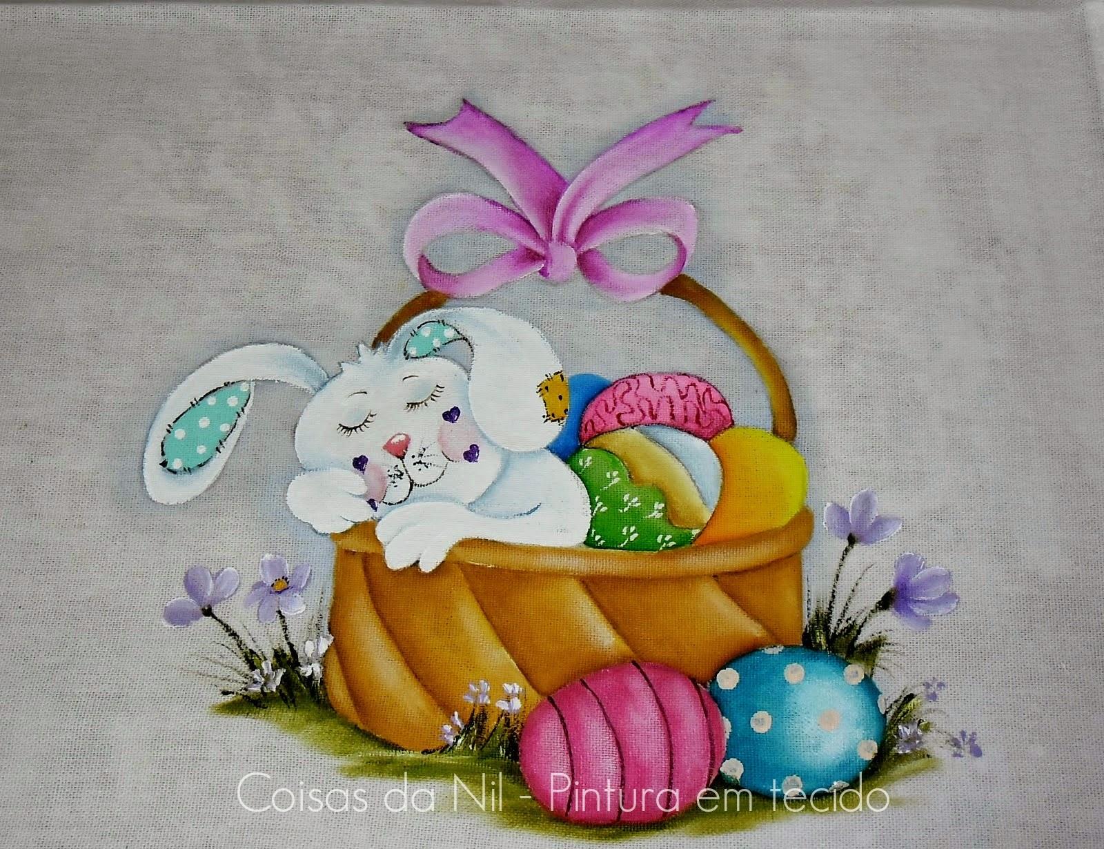 pintura tecido pascoa coelhinho dormindo na cesta com ovos de chocolate