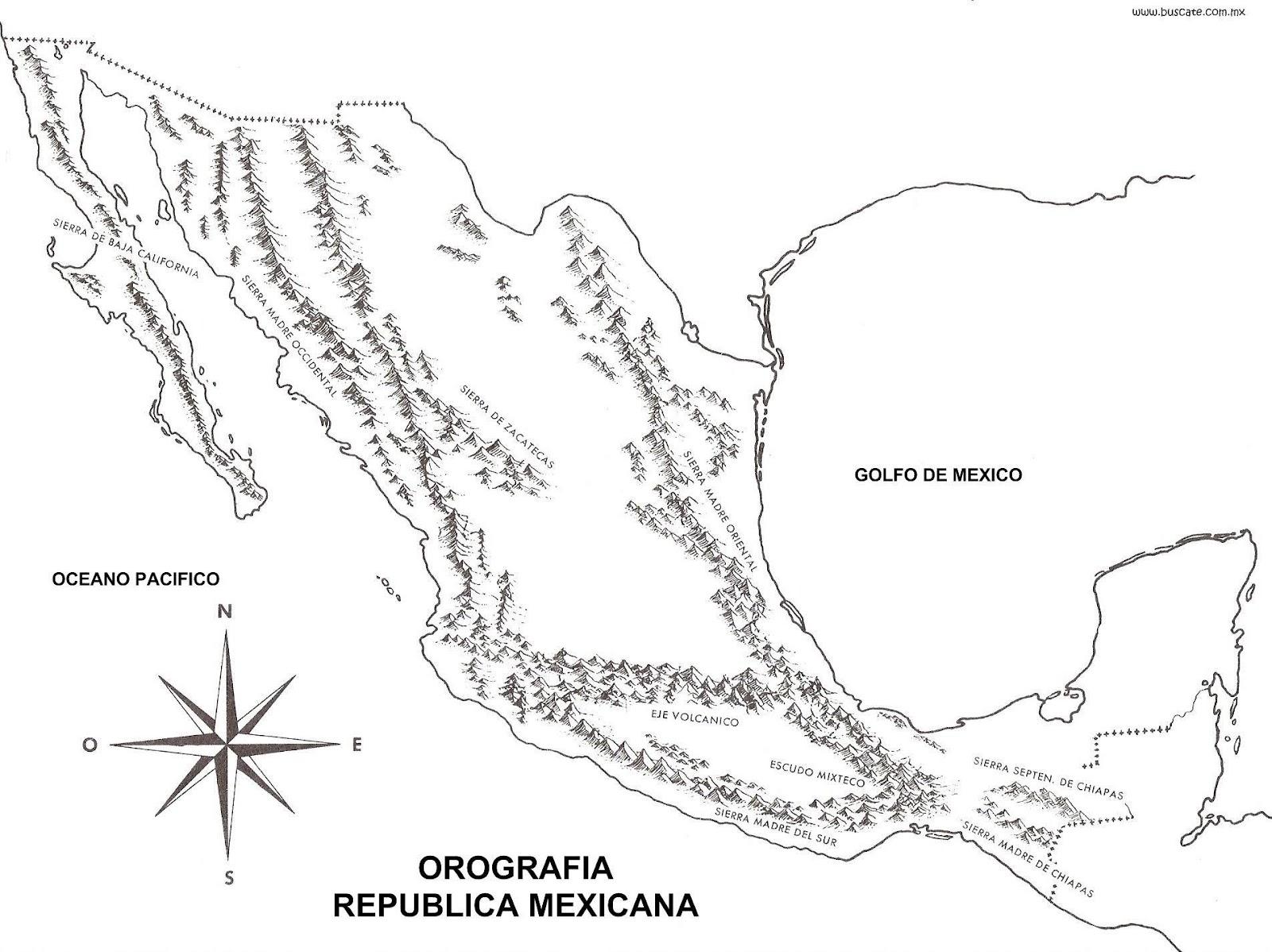 Mapa Orografico De Mexico Con Nombres