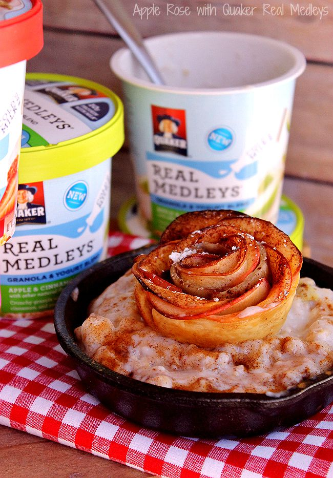 Baked Apple Roses: Discover crunchy, cool, yum NEW #QuakerRealMedleys in the Cold Ready-To-Eat Cereal aisle of your local Walmart. Just add 1/2 cup cold milk for a whoel grain granola, real fruit and nut, yogurt experience unlike anything you've tried before! Quaker® Real Medleys® Yogurt Cups pair perfectly with our simple Baked Apple Roses- recipe on the blog! (ad)