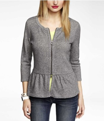 Express zip up peplum sweatshirt