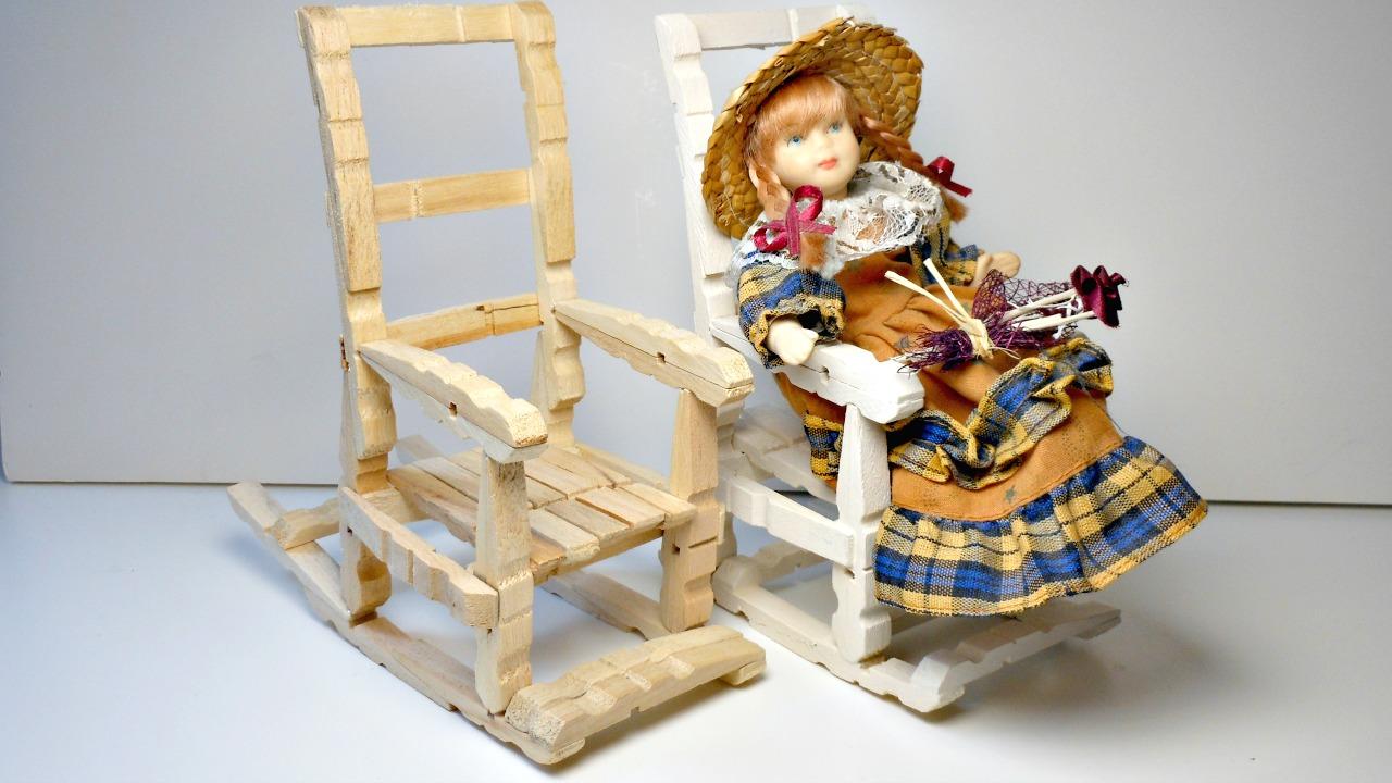 Mundo party silla mecedora con pinzas para la ropa - Hacer manualidades con madera ...