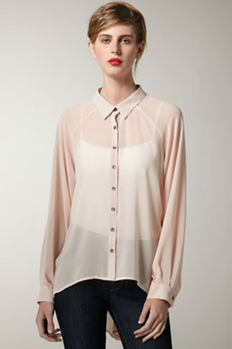 Fashion week Wear to what under sheer beige blouse for lady