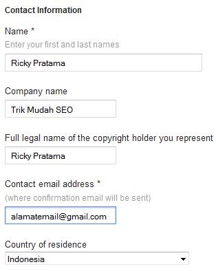 formulir data untuk contact information