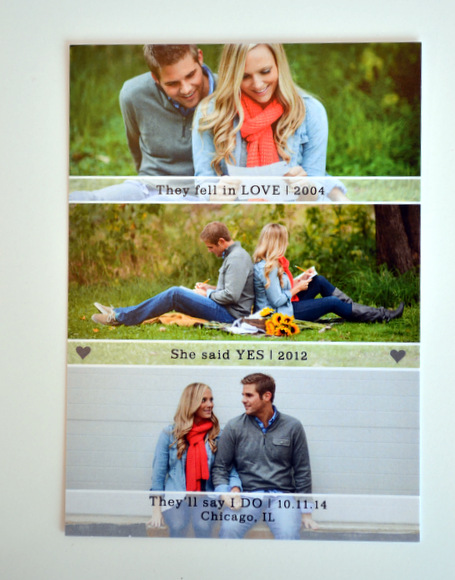 The front of Casey and Mike's Save the Date cards