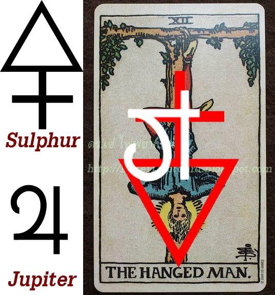 The Hanged Man card xii Jupiter Sulfur Sulphur Inverted Reversed ไพ่ทาโร่ ไพ่ ไพ่คนถูกแขวน โหราศาสตร์ ดาวพฤหัส กำมะถัน ธาตุ พลังงาน ดวงดาว