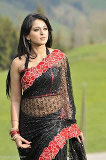 Anushka Shetty in Beautiful Transparent Black Saree WOW